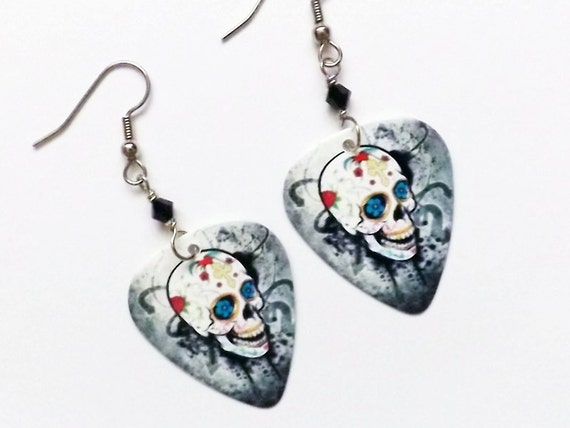 Day of the Dead Guitar Pick Earrings sugar skull dia de los muertos Halloween grunge goth skull skeleton party favor stocking stuffer gift