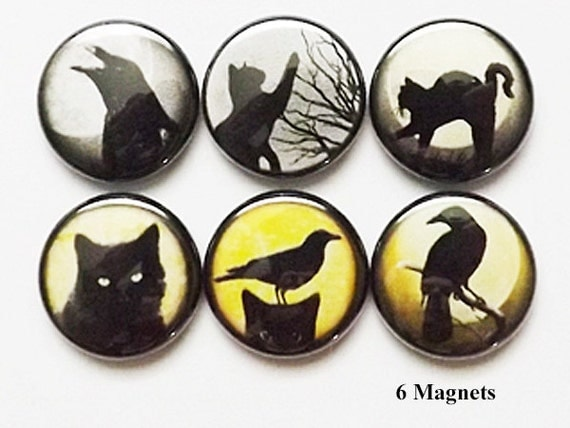 Fridge Magnets Black Cats Ravens crows halloween geekery party favors stocking stuffers trick or treat birds goth moon gifts silhouette pins