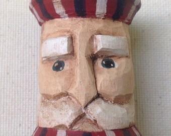 Uncle Sam Thread Spool Carving, Americana Christmas Ornament, Carved Patriotic Santa