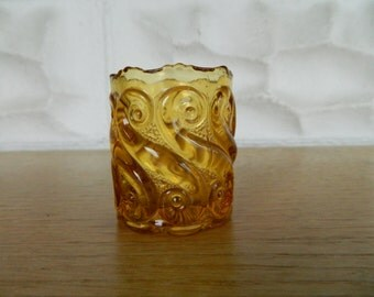 Vintage Tooth Pick Holder -Amber Swirl