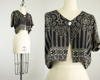 90s Vintage Black Print Cropped Bolero Top / Size Small