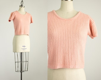 20% Off With Coupon Code! 80s Vintage Peach Ribbed Knit Sweater Top / Size Small