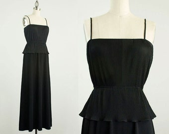 70s Vintage Black Flounce Ruffle Maxi Sun Dress / Size Small / Medium