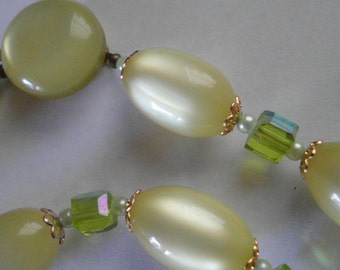 1940s Lucite Moonglow Necklace Vintage Jewelry Made in Japan