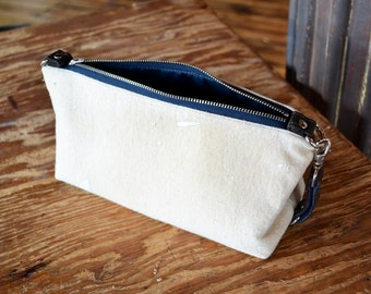 Men's Waxed Canvas Shave Bag, Dopp Kit, Toiletry Bag, Groomsmen Gift, The Otto Shave Kit in Limited Edition Off White Upcycled Canvas