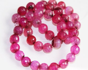 15  inch strand of Pink Fuchsia Agate beads , faceted round beads 8mm