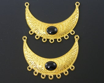 Bib Necklace Gold Tribal with Black Enamel Cab Antique Crescent Pendant Jewelry Ethnic Necklace Finding Ornate Jewelry Component |LG5-5|2