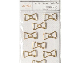 SALE Bowtie Paper Clips (9/Pkg) Gold Bowtie Paperclips • Cute Paper Clips • Planner Supplies (370820)