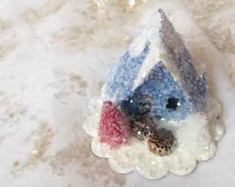 Vintage Putz Style Miniature Cobalt Blue Glitter Sugar House with a Tiny Hand Cut White and Red Pine Trees Christmas Village Ornament