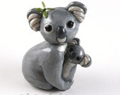 Clay Koala Mother and Baby - hand sculpted animal keepsake - Koala Bear sculpture - cute collectible gift for animal lovers - made to order