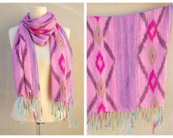 Vintage ikat India scarf / PINK purple aqua lime / silver metallic festival scarf, long