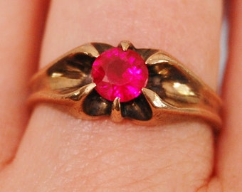 Antique Edwardian Rose Gold Ring Size 9 Pink Stone Low Karat 1910s 1920s Vintage