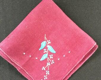 Vintage Maroon Ladies' Hankie/Handkerchief with Blue Embroidery Flowers