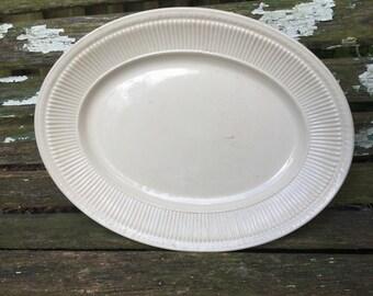 Vintage Creamy Ivory White SHENANGO CHINA Oval Platter