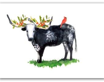 Long horned steer Christmas cards, texas Christmas card, Set of 10.Texas steer, woodland. black and white steer, watercolor christmas card.