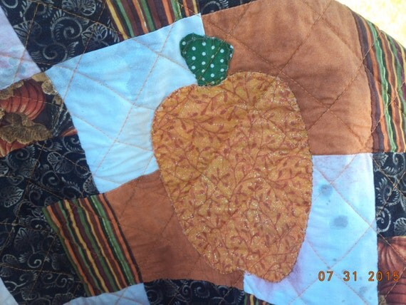 Pumpkin Time quilt for Halloween,  scrappy autumn harvest throw blanket Price reduced