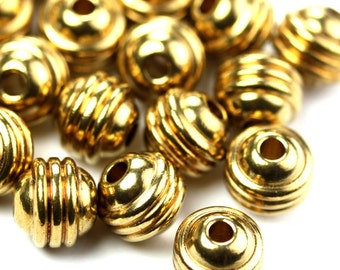 Metal Beads Round Ribbed Raw Brass 5mm (8) M036