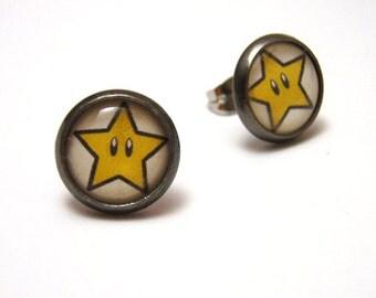 Super Mario Star Studs- Powerup star from Nintendo bezel post earrings - SMALL 10mm - Geek Chic Gamer Jewelry
