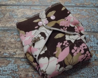 Organic Cotton Winged Prefold Cloth Diaper Pretty Brown Pink and Cream Floral
