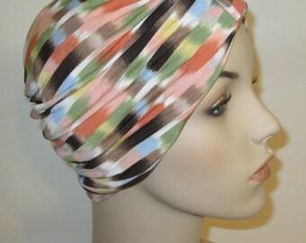 FREE SHIP USA Peach Brown Blue Stretch Turban, Chemo Hat, Cancer Turban, Womens Hat