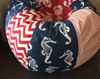 Seahorse Lobster and Nautical Anchors Bean Bag chair with modern chevron and vintage style ticking stripe red white and blue americana