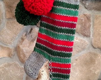 Old Fashioned Hand Knit Christmas Stocking in Horizontal Two Tone Red Green Stripes Fancy border Gray heel toe trim