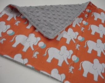 Elephant and Mouse Let's Be Friends Orange Aqua and Navy Minky Receiving Blanket 15 x 20 READY TO SHIP On Sale
