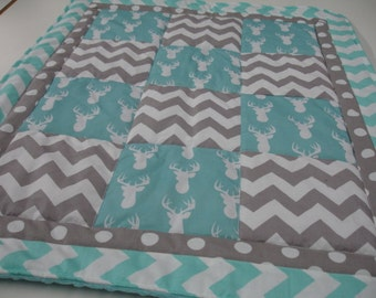 Deer Head Gray and Aqua Chevron and Polkas Minky Baby Blanket You Choose Size and Minky Color MADE TO ORDER No Batting