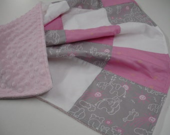 Elephants You Are My Sunshine in Pink Gray and White with Bits of Sunshine Minky Blanket 31 x 31 READY TO SHIP On Sale
