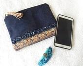 Denim purse, beaded purse,  blue beaded pouch, fabric purse, zippered pouch, fashion accessory, womens accessory