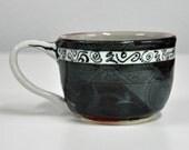 Coffee Cup Mug Stoneware Dark Multi Pattern Layered Design Handmade Pottery by Bonnie Stowe