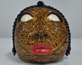 Day of the Dead Voo Doo Woman Handmade Stoneware by Bonnie Stowe Pottery