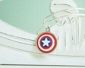 Captain America Shield Adjustable Bangle Bracelet -  Alex & Ani Inspired Style #30