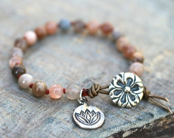 Multi Color Peach Moonstone, Hand Knotted Sterling Silver Button and Charm Bracelet, Lotus Flower Charm, Peach Moonstone Jewelry, Handmade