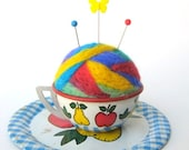 SHOP CLOSING SALE - Pin Cushion - Needle Felted - In Vintage Child's Tin Tea Cup With Saucer - Apples And Pears, Red, Yellow, Blue