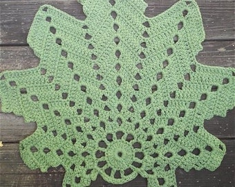 "Crochet Rug Leaf Shape Sage or Spruce Green Cotton 28"" wide Non Skid READY to SHIP"