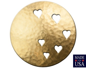 Raw Brass Hammered Dapped Domed Circle w/ Cutout Hearts 33mm (4) mtl489A