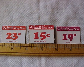 10 Very Old REXALL DRUG STORE Price Tags,  made of Cardboard--for Altered Art-Mixed Media-Assemblage-Collage-Scrapbooking-Journaling & more