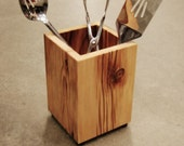 Utensil Holder Kitchen Organizer Tool Caddy, Wood Gift for Chef or Cook.  Rustic Kitchen Decor