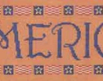 Cross Stitch Pattern, America Counted Cross Stitch Pattern, by Elizabeth's Needlework Designs, Patriotic Pattern WI
