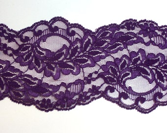 Purple Lace 3 5/8 inches wide x 3 yards, Wide Purple Lace, Floral Lace