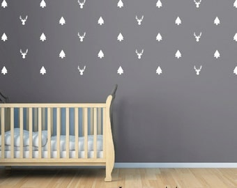Trees and Bucks Wall Decal Sticker - Tree Sticker Decor - Buck Hunting Wall Decor Sticker - Boys Bedroom Nursery - CB163
