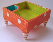 colorful ceramic Serving Dish - chartreuse, turquoise & tangerine polka dots, striped feet whimsical pottery divided snack bowl
