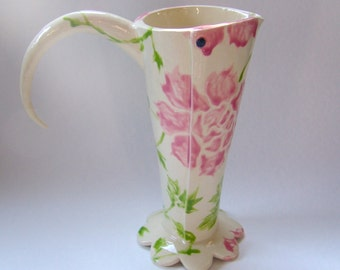 pretty Pink Peonies pottery Vase or Pitcher hand painted original ceramic Alice-in-Wonderland home decor shabby chic english garden tea