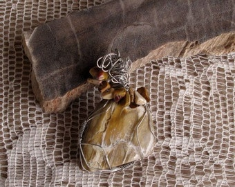 New Mexico Striped Petrified Wood Pendant Jasper Accents Free Form Wire Wrap ( Free US Shipping)