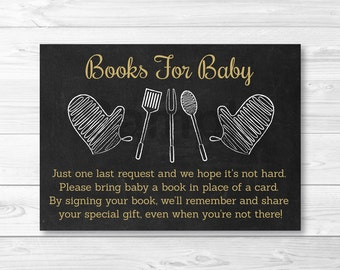 Chalkboard BBQ Book Request Cards / BaByQ Shower / BBQ Baby Shower / Coed Shower / PRINTABLE
