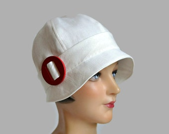 1920s Cloche Hat in Cream Linen with Red Wooden Buckle - Made to Order in Your Size
