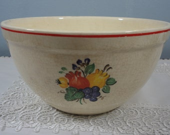 """Old Knowles Utility Ware Mixing Bowl - Large 10"""" Sequoia Pattern - 1930/1940"""