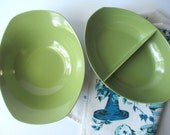 Vintage Melamine Oneida Premier Avocado Green Serving Bowl Pair - So Retro