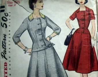 Vintage 50s Womens Dress Pattern With Long Line Bodice Simplicity 1320 Sz 18 Uncut